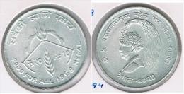 NEPAL FAO 10 RUPIAS RUPEE  1968 PLATA SILVER Z - Népal