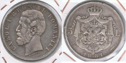 RUMANIA  CAROL I 5 LEI 1881 PLARA SILVER Z - Rumania