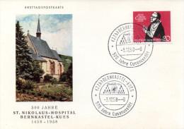 "Bundesrepublik Schmuck-FDC-Karte ""500 Jahre Cusanusstift"" Mi.301 ESSt. 3.12.58 BERNKASTEL - FDC: Covers"
