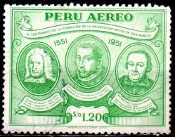 PERU 1951 Air. 4th Cent Of S. Marcos University - 1s20 P De Peralto Barneuvo, Father San Martin & Baquijano  FU - Peru