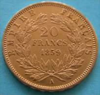 FRANCE - 20 Francs Napoléon III 1859 A (Paris)Gold - L. 20 Francs