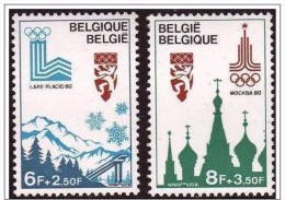 Belgium**OLYMPIC GAMES 1978-2stamps-Lake Placid&Moscow-MNH-OLYMPIA - Unused Stamps