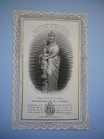 Superbe Canivet 19 ème N&B Statue De Marie Notre Dame Des Victoires Letaille N° 184 Dentelle Papier - Images Religieuses