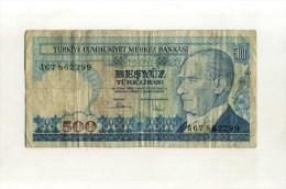 - TURQUIE . BILLET  500 L. 1970 . - Turchia