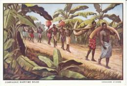Compagnie Maritime Belge, Artist Image, Caravane D'Ivoire Ivory Caravan, C1920s/40s Vintage Postcard - Belgian Congo - Other