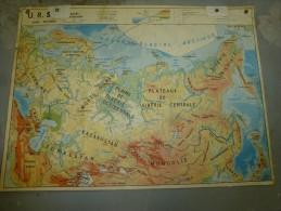 URSS (Russie)     Carte Géographique Recto-verso Plastifiée Dimension 124 Cm X 90 Cm - Geographical Maps