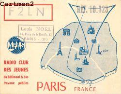 CARTE RADIO AMATEUR QSL RADIO CLUB DES JEUNES DU BATIMENT ET TRAVAUX PUBLICS PARIS PLACE BASTILLE PARIS - Radio Amateur