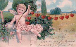 Angelot Et Coeurs, Litho Gaufrée (5885) - Anges