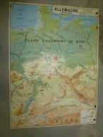 ALLEMAGNE     Carte Géographique  Physique, Politique Et Industrielle , Recto-verso Plastifiée Dimension 124 Cm X 90 Cm - Geographical Maps