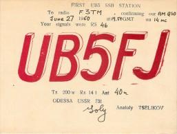 CARTE RADIO AMATEUR QSL ODESSA U.R.S.S. UKRAINE RUSSIE RUSSIA - Radio Amatoriale