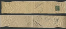 CD01 - Bande Journaux  Semeuse Camée 2 Ct  Vert  Ayant Servi De Collier De Sac Postal - Entiers Postaux