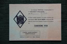 LEGION ETRANGERE, AUBAGNE, Caserne VIENOT 1958, CAMERONE, Invitation Prise D´Armes - Announcements