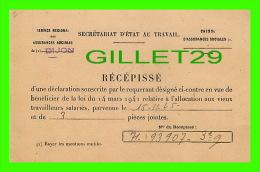 RÉCÉPISSÉ, SECRÉTARIAT D´ÉTAT AU TRAVAIL DE DIJON - CIRCULÉ EN 1965 - CAISSE D'ASSURANCES SOCIALES - - Autres