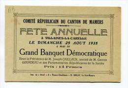 Belle Carte De Banquet Démocratique à Villaines-la-Carelle - Sarthe - Canton De Mamers  25 Août 1935 - Historische Documenten