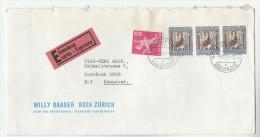 1967 EXPRESS SWITZERLAND COVER Stamps 3x 50+10 Pro Patria RELIGION 1x 20 To Germany - Switzerland