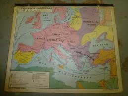 L'EXPANSION CHRETIENNE Et Les GRANDES DECOUVERTES Carte Géographique Plastifiée Recto Verso (120 Cm X 100 Cm) - Geographical Maps
