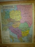 Carte Géographique (120cm X 100cm) Les Démocraties Populaires D'EUROPE Et L'URSS De 1921-1941 - Geographical Maps