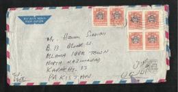 United Arab Emirates UAE 1978 Air Mail Postal Used Cover Abu Dhabi To Pakistan Falcon Eagle Birds - Abu Dhabi