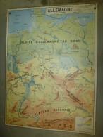 Carte Géographique (124cm X 90cm) Plastifiée 2 Faces  ALLEMAGNE Et  RFA - Geographical Maps