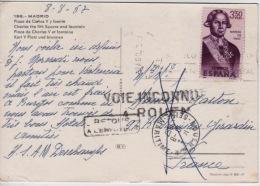 1967 - Cachets - Retour à L ´envoyeur - Voie Inconnue  à  ROUEN -  Timbre Poste ESPANA - Marcas De Censura Nacional