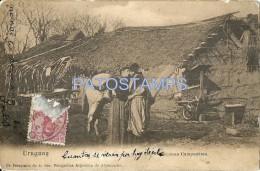 17084 URUGUAY COSTUMES ESCENAS CAMPESTRES GAUCHO & PEASANT YEAR 1909 POSTAL POSTCARD - Argentinien