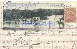 17093 URUGUAY COSTUMES DELIGENCIA A CABALLO VADEANDO UN ARROYO & MUSIC YEAR 1903 POSTAL POSTCARD - Argentinien