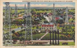 Oil Wells & Governor's Mansion , OKLAHOMA CITY , 30-40s - Oklahoma City