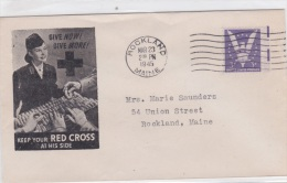 Red Cross: USA Cover P/m Rockland, MA 1945 Give Now, Give More Red Cross (G77-15) - Militaria