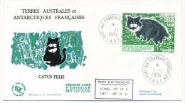 TAAF - Enveloppe FDC - Catus Felis - Port Aux Français Kerguelen - 1-1-1994 - FDC