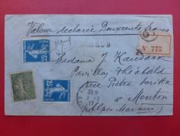 LETTRE CHARGEE TIMBRE SEMEUSE PARIS A MENTON 1917 CACHET CIRE - Marcophilie (Lettres)