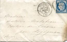 Lettre Toulouse à Lezignan - Timbre - 1876 - Marcophilie (Lettres)
