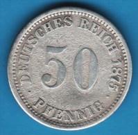 DEUTSCHES REICH 50 PFENNIG 1875 A   Kaiserreich  Wilhelm I.  ARGENT SILVER - [ 2] 1871-1918 : Imperio Alemán