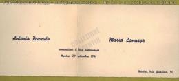ANNUNCIO DI MATRIMONIO Antonio Pezzuto E Maria Zanusso, Mestre 20 Settembre 1941 - Annunci Di Nozze