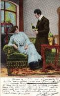 CPA De 1905 - N°5771 - Couple Et Bouteille De Champagne Au Salon - - Couples