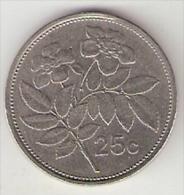 *Malta 25 Cents 1986  Km 80    Xf+ - Malte