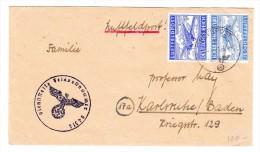Deutschland DR Luftpost 1.9.1944 Feldpost Brief Nach Karlsruhe - Poste Aérienne