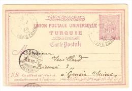 UPU Ganzsache Türkei Von Isquétche Nach Genf AK-Stempel 30.5.1898 - 1858-1921 Empire Ottoman