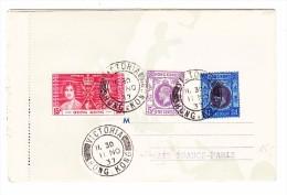 4 Destinationen Faltbrief Ankunft 11.11.1937 Hongkong Aus Paris Via New-York Und Natal - Hong Kong (...-1997)