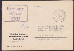 DDR ZKD Kastenstempel -ZKD- (mit Strich) Rat Des Kreises Mühlhausen 14.8.1964, Diese Art KSt. (mit Strich) Sind Rar - Oficial