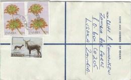Zambia 1983 Lusaka Lechwe Antilope 35n Flower 50n Registered Stationary Cover - Zambia (1965-...)