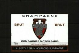 Etiquette   Champagne   -     Brut  Motocycliste  Compagnies Motos Paris  - Albert Le Brun à Châlons-sur-Marne - Champagner