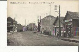 Beauchamps  95   La Route De La Gare Et D'Herblay Animée-Epicerie-Mercerie-Confiserie-Boulangerie Et Café - Beauchamp