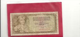 -REPUBLIQUE FEDERALE SOCIALISTE YOUGOSLAVE -- 10 DINARA --1-5-1968 --BILLET USAGE -- - Yougoslavie