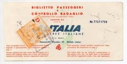1968 - BILLET DE TRAIN / BIGLIETTO PASSEGGERI Avec TIMBRE FISCAL - Railway