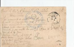 CARTE AVEC CACHET MILITAIRE CENTRE D'INSTRUCTION DES MITRAILLEURS BOURGES (18)  1916 - Marcophilie (Lettres)