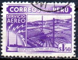 PERU 1938 Air. National Radio Station. San Miguel -1s.50   - Purple  FU - Pérou