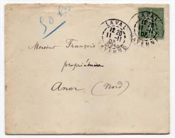 1903-lettre De LAVAL-53 Pour ANOR-59--tp N°130 Semeuse Lignée 15c-beau Cachet Manuel  LAVAL-11-11-03-- - Postmark Collection (Covers)