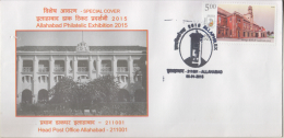 India  2015  Clock Tower  Cancellation  Allahabad  Special Cover  # 86262  Inde Indien - Clocks