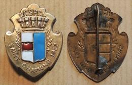 Ancienne Médaille Métal émaillé 1922 Saint-Chamond - Union Gymnastique Et Sportive Des Patronages Catholiques De Loire - Gymnastique