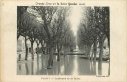 78-Poissy :Grande Crue De La Seine Janvier 1910 - Boulevard De La Seine - Poissy